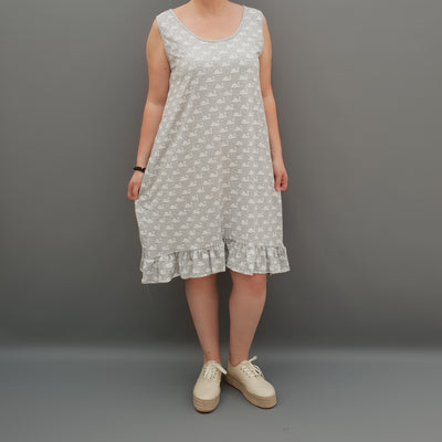 Summer Dress Beach Holiday Loose Frill Sleeveless Lagenlook Plus Size   [L1070_GREY]