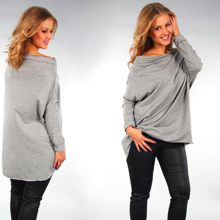 Tunic Top Asymmetric Casual Plus Size [L419_GREY] top Wolfairy