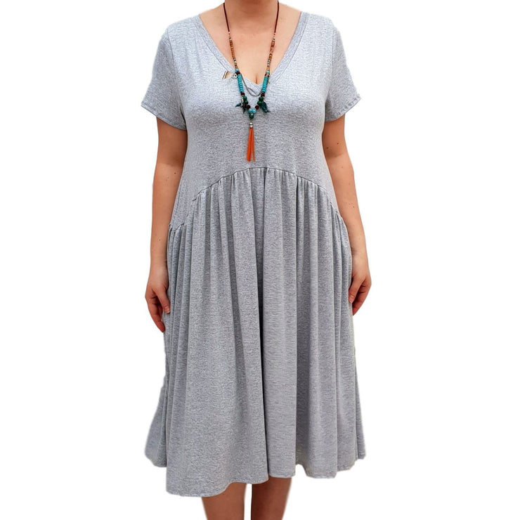 V-neck Swing Dress  Baggy  Stretchy Boho 2 Pockets Lagenlook Plus Size [L1058_GREY] - size 16 18 20 22 24 26 28 30 32 34 36 38 40 42 Wolfairy