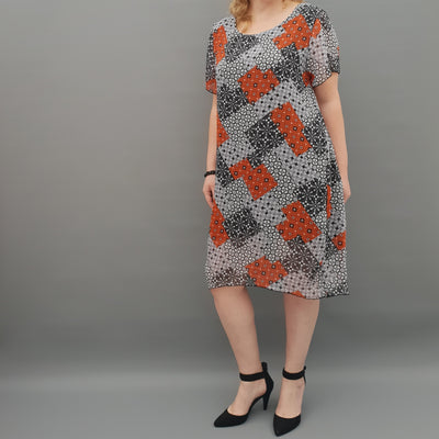Plus size chiffon summer dress tunic [L1072_GREY]