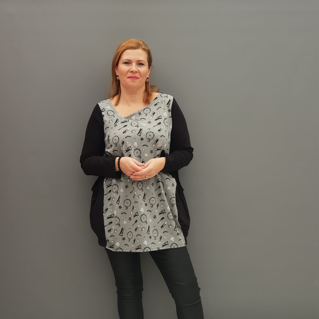 Plus Size Asymmetric Jersey Top Blouse with Pockets [L1109_GREY] - size 16 18 20 22 24 26 28 30 32 34 36 38 40 42 Wolfairy