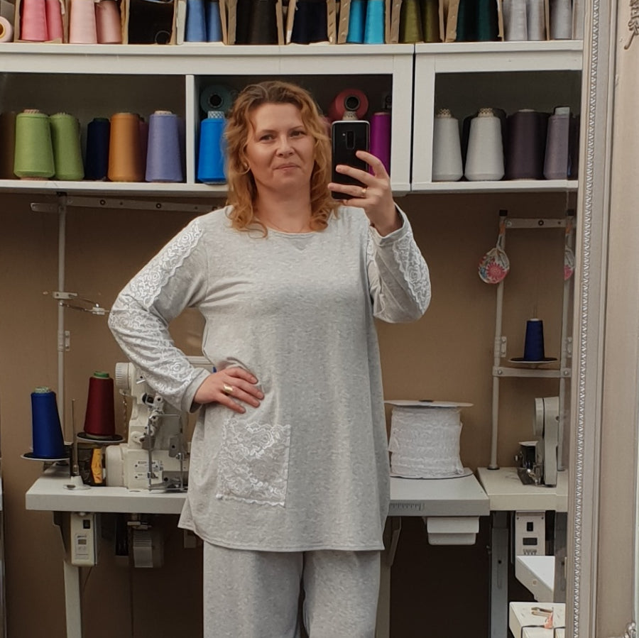 Plus Size Cotton Jersey Pyjama Top Long Sleeve [L1208_GREY]