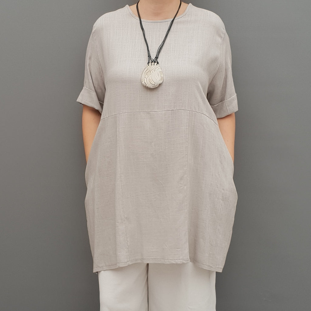 Linen Tunic Summer Top Loose Lagenlook Blouse Short Sleeve Plus Size   [L1064_GREY] - size 16 18 20 22 24 26 28 30 32 34 36 38 40 42 Wolfairy