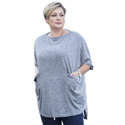 Top sweater warm jumper cape jacket poncho black plus plus size [L457_GREY] - size 16 18 20 22 24 26 28 30 32 34 36 38 40 42 Wolfairy