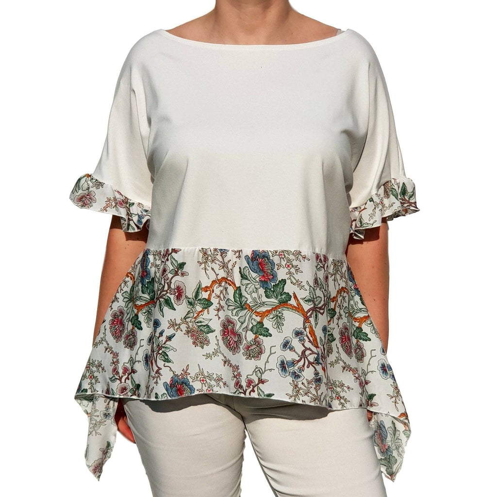 Top  Frill Loose Baggy Short Sleeve Beach Holiday Airy Lagenlook Plus Size [L1057_IVORY2] - size 16 18 20 22 24 26 28 30 32 34 36 38 40 42 Wolfairy