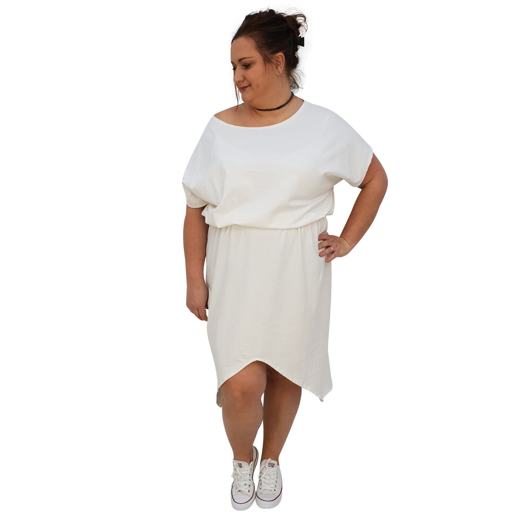 Sport Dress Asymmetric Slit Jersey  Plus Size [L1048_IVORY] - size 16 18 20 22 24 26 28 30 32 34 36 38 40 42 Wolfairy