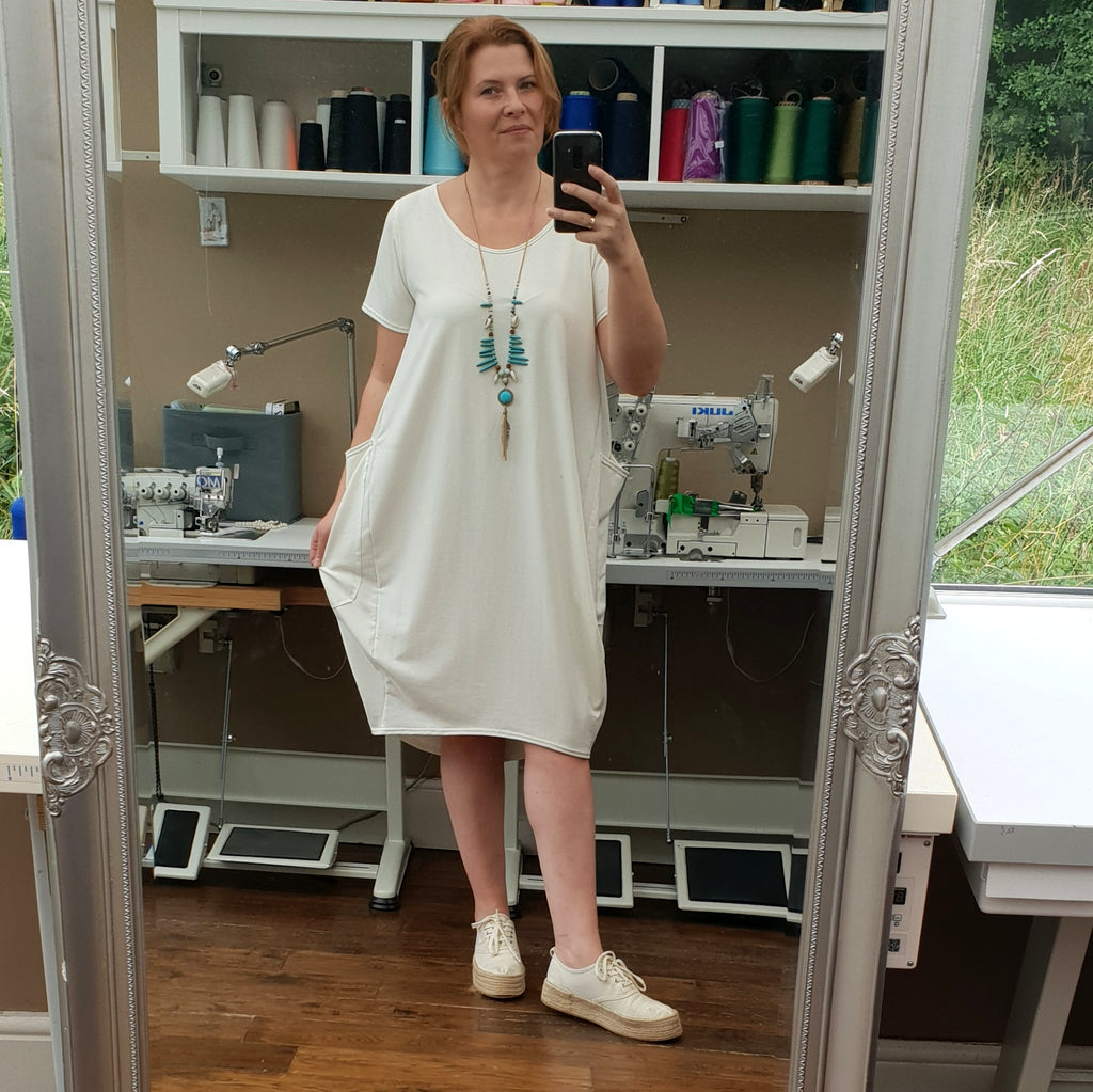 Plus Size Cotton Jersey Dress with Big Pockets [L1165_IVORY]