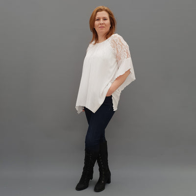 Wolfairy Plus Size Airy Striped Top Tunic Lace Sleeve [L1125_IVORY]