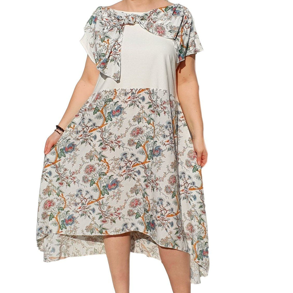 Dress  Sleeveless Boho Beach Holiday Floral Airy Lagenlook Plus Size [L1056_IVORY] - size 16 18 20 22 24 26 28 30 32 34 36 38 40 42 Wolfairy