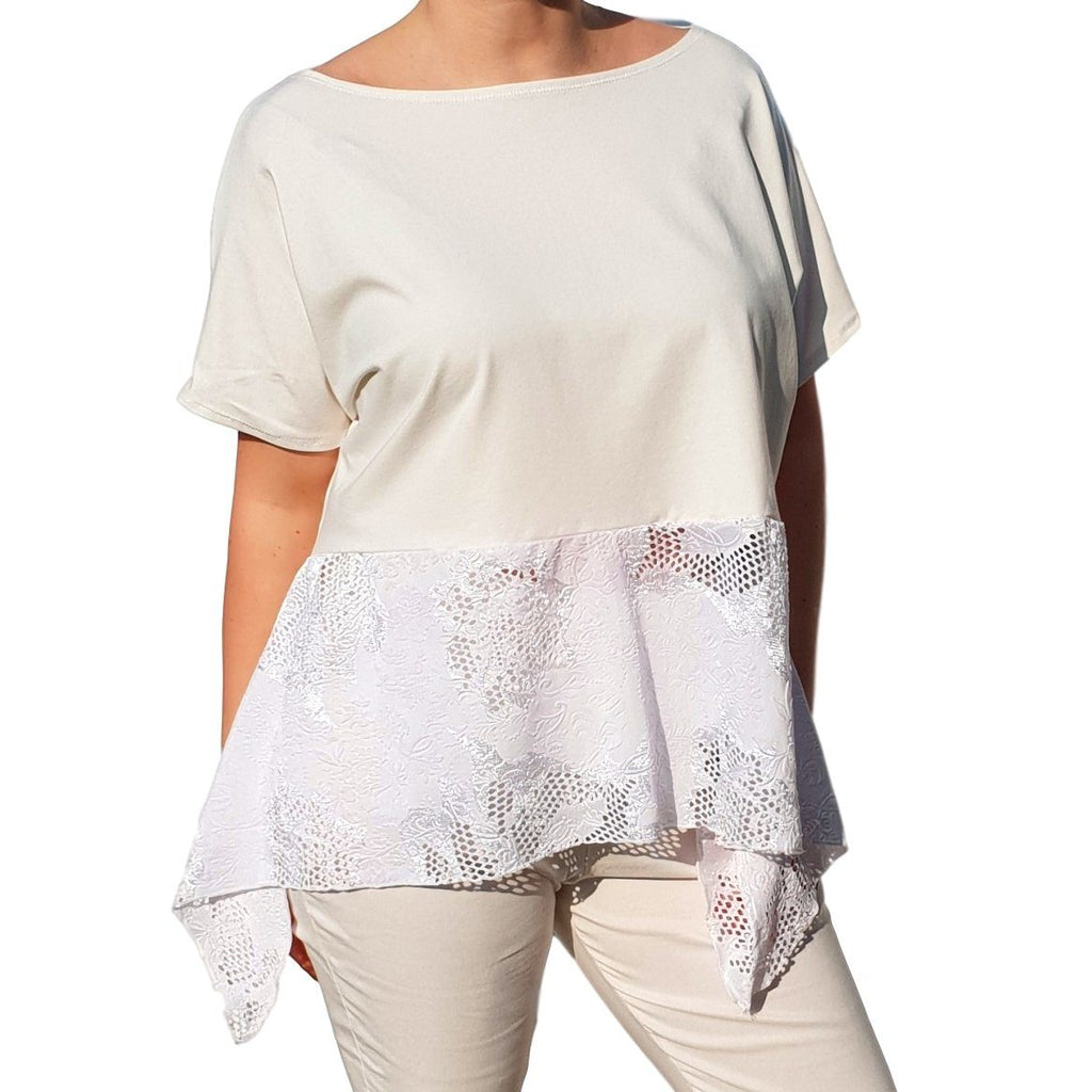 Lace Top  Frill Loose Baggy Short Sleeve Beach Holiday Airy Lagenlook Plus Size [L1057_IVORY] - size 16 18 20 22 24 26 28 30 32 34 36 38 40 42 Wolfairy