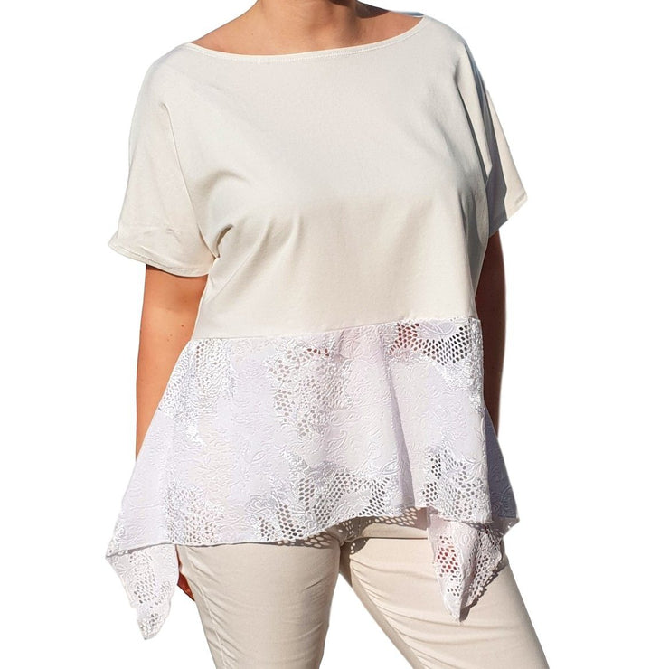 Lace Top Frill Loose Baggy Short Sleeve Beach Holiday Airy Lagenlook Plus Size [L1057_IVORY] top Wolfairy