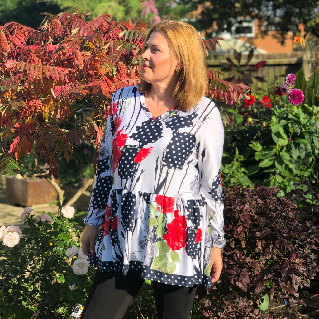 Plus size drop waist ruffle hem floral top v-neck long sleeve [L1092_IVORY] - size 16 18 20 22 24 26 28 30 32 34 36 38 40 42 Wolfairy