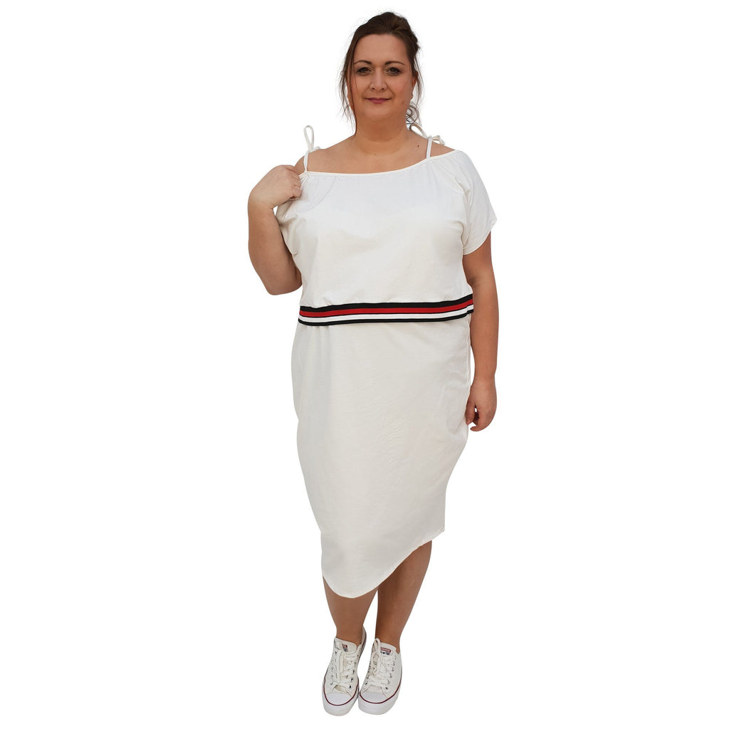 Jersey Sports Set - Top & Skirt With Stripe Plus Size [L1049_IVORY] - size 16 18 20 22 24 26 28 30 32 34 36 38 40 42 Wolfairy