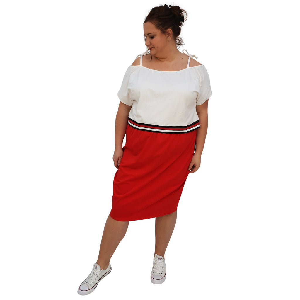 Jersey Sports Set - Top & Skirt With Stripe Plus Size [L1049_IVORYRED] - size 16 18 20 22 24 26 28 30 32 34 36 38 40 42 Wolfairy