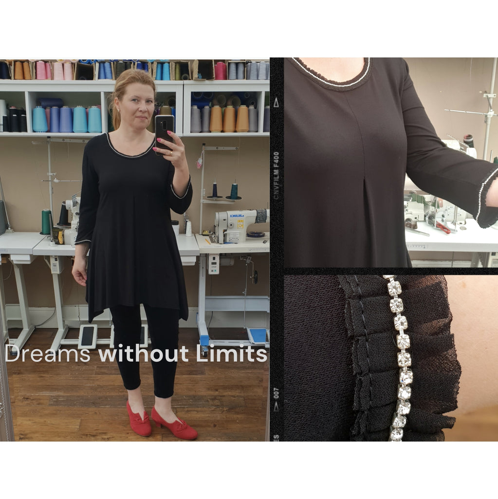 Smart Embellished Handkerchief Stretchy Round Neckline Black Long Top Tunic 3/4 Sleeve [L1178_BLACK]