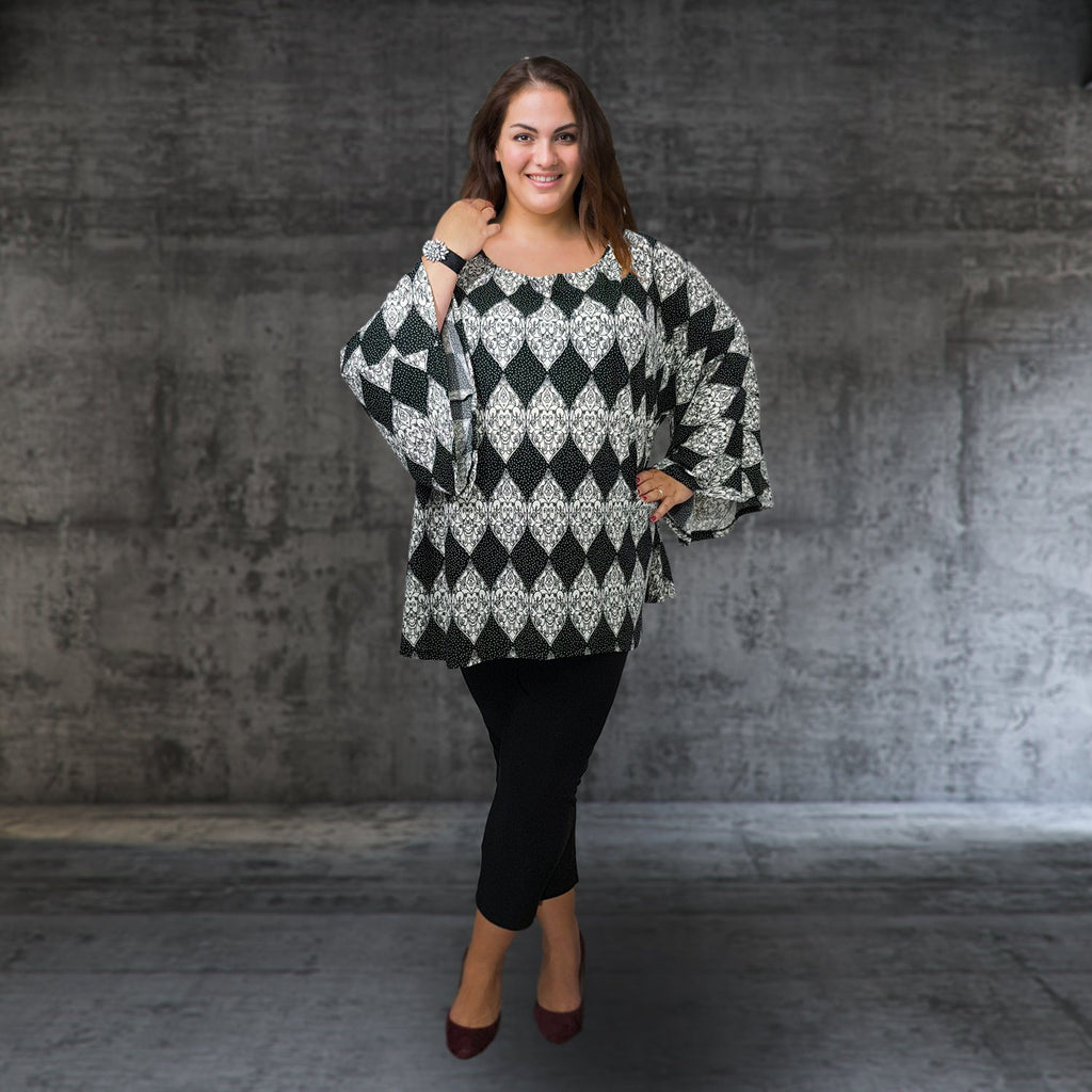 Top Tunic Loose Stretchy Long Sleeve Black2 Lagenlook Plus Size [L1000_BLACK2] - size 16 18 20 22 24 26 28 30 32 34 36 38 40 42 Wolfairy