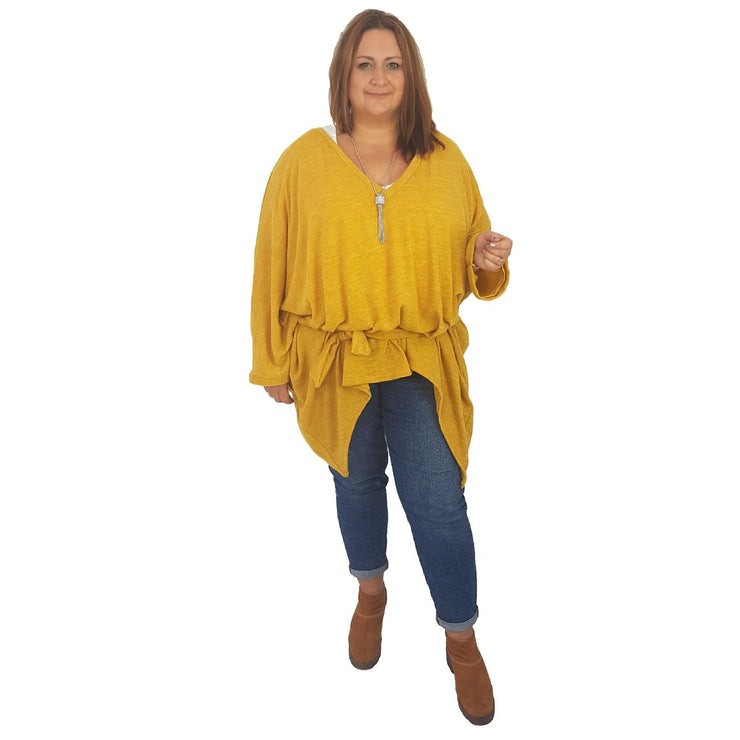 Top Tunic Poncho Vneck Scarf Belt Yellow Lagenlook Plus Size [L1001_YELLOW] - size 16 18 20 22 24 26 28 30 32 34 36 38 40 42 Wolfairy