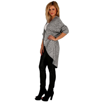 Cardigan Quirky Jumper Jacket Grey Plus Size [L102_GREY] - size 16 18 20 22 24 26 28 30 32 34 36 38 40 42 Wolfairy