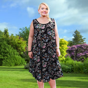 Sleeveless Boho Beach Holiday Floral Airy Dress  Plus Size [L1052_BLACK] - size 16 18 20 22 24 26 28 30 32 34 36 38 40 42 Wolfairy
