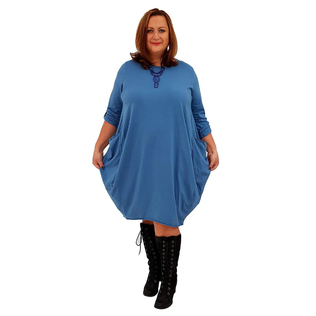 Dress Baggy Tunic Long Sleeve Blue Lagenlook Plus Size [L119_BLUE] - size 16 18 20 22 24 26 28 30 32 34 36 38 40 42 Wolfairy