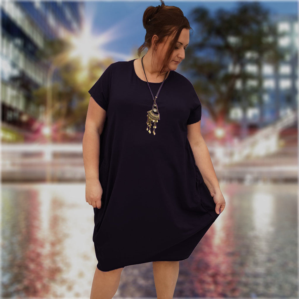 Dress  Baggy Cotton Black Plus Size [L227_BLACK] - size 16 18 20 22 24 26 28 30 32 34 36 38 40 42 Wolfairy