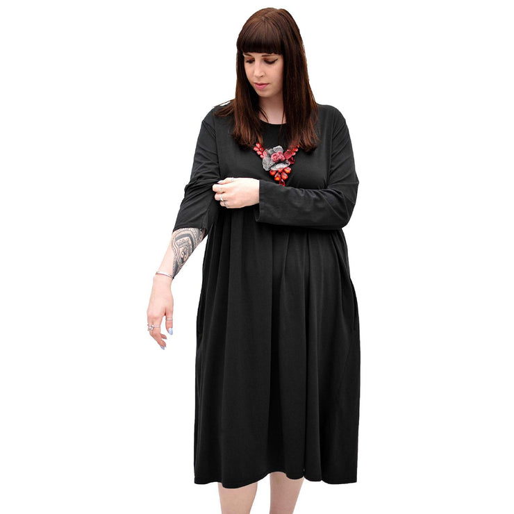 Dress Baggy Swing Jersey Stretchy Black Lagenlook Plus Size [L370_BLACK] dress Wolfairy
