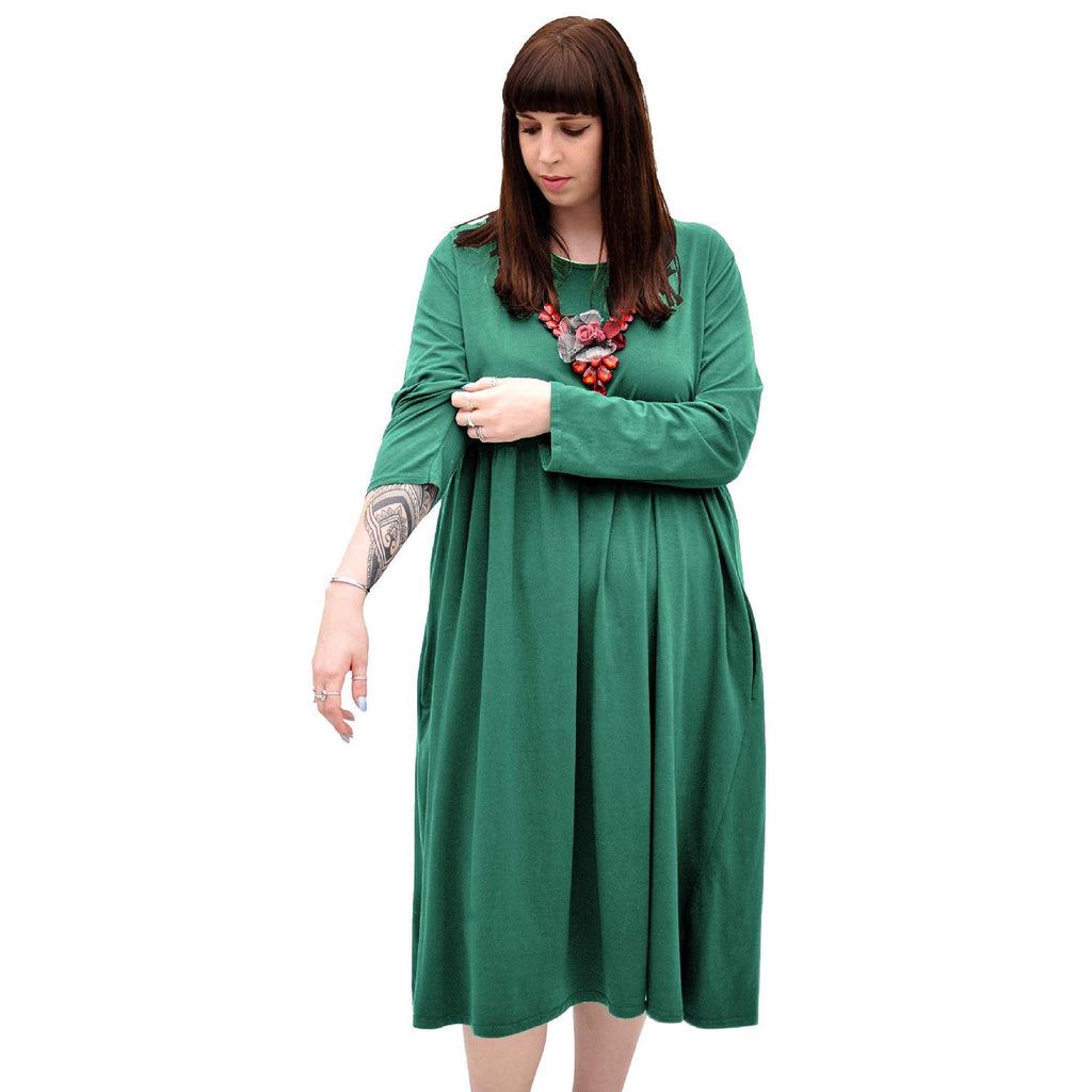 Dress  Baggy  Swing Jersey Stretchy Green Lagenlook Plus Size [L370_GREEN] - size 16 18 20 22 24 26 28 30 32 34 36 38 40 42 Wolfairy