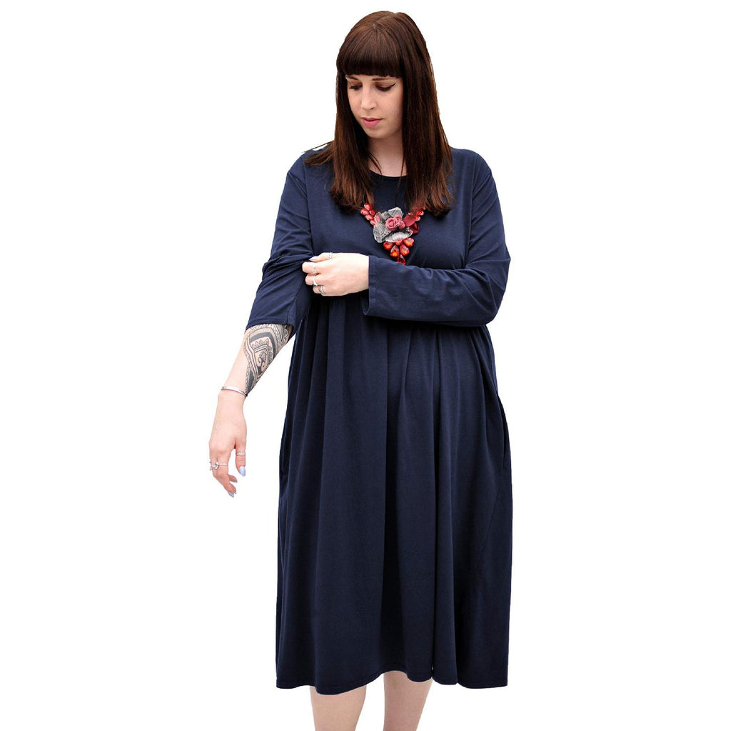 Dress  Baggy  Swing Jersey Stretchy Navy Lagenlook Plus Size [L370_NAVY] - size 16 18 20 22 24 26 28 30 32 34 36 38 40 42 Wolfairy