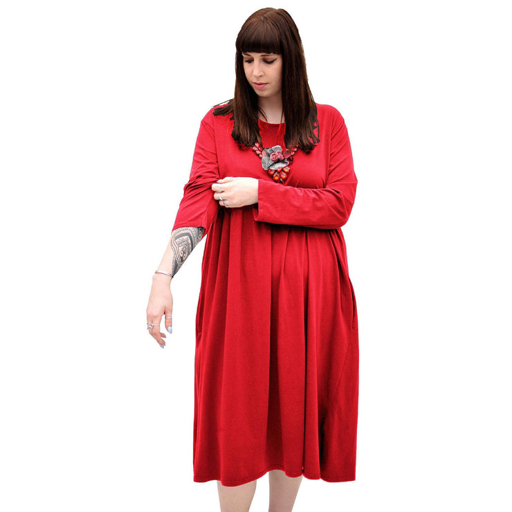 Dress Baggy Swing Jersey Stretchy Red Lagenlook Plus Size [L370_RED] dress Wolfairy