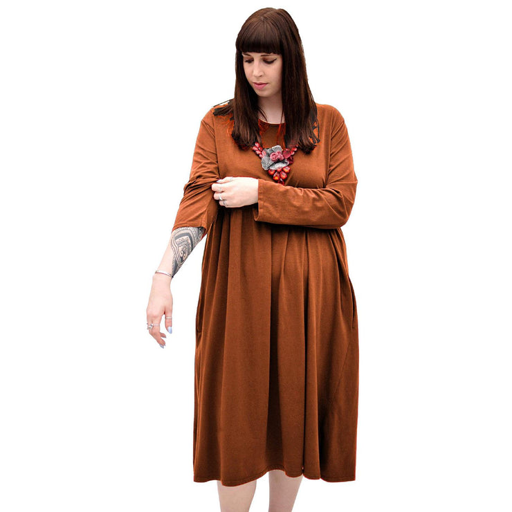 Dress  Baggy  Swing Jersey Stretchy Rust Lagenlook Plus Size [L370_RUST] - size 16 18 20 22 24 26 28 30 32 34 36 38 40 42 Wolfairy
