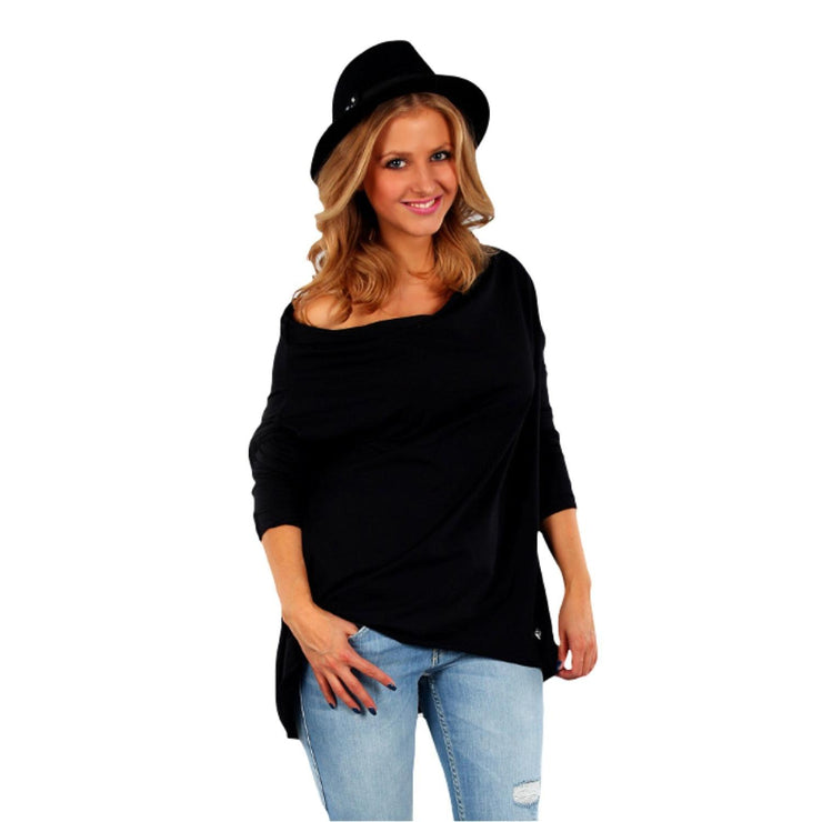 Tunic  Top Asymmetric Casual  Black Plus Size [L419_BLACK] - size 16 18 20 22 24 26 28 30 32 34 36 38 40 42 Wolfairy