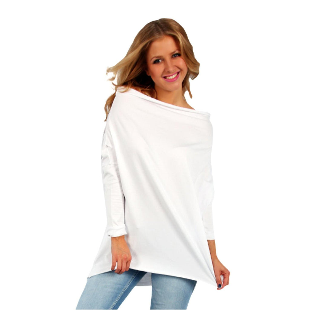Tunic  Top Asymmetric Casual  Ivory Plus Size [L419_IVORY] - size 16 18 20 22 24 26 28 30 32 34 36 38 40 42 Wolfairy