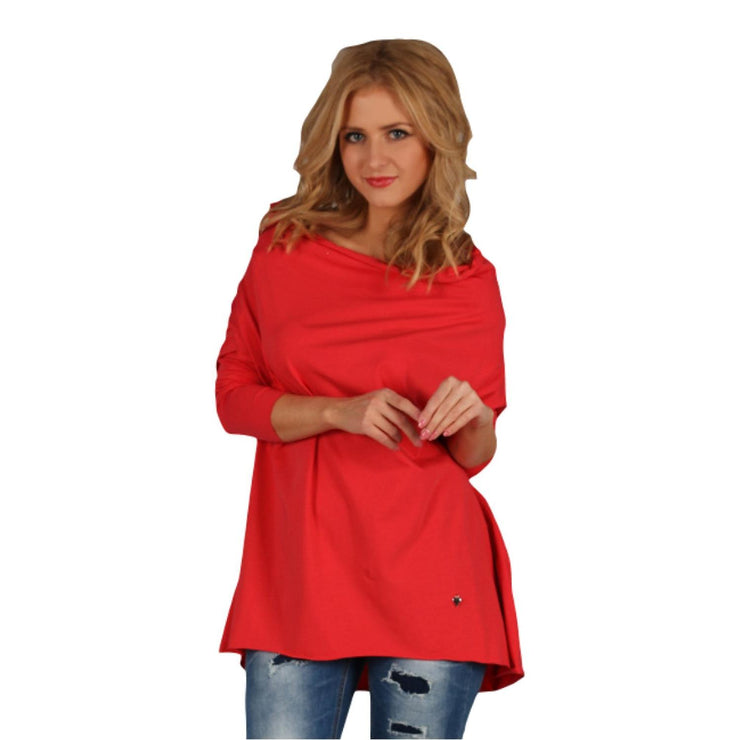 Tunic  Top Asymmetric Casual  Red Plus Size [L419_RED] - size 16 18 20 22 24 26 28 30 32 34 36 38 40 42 Wolfairy