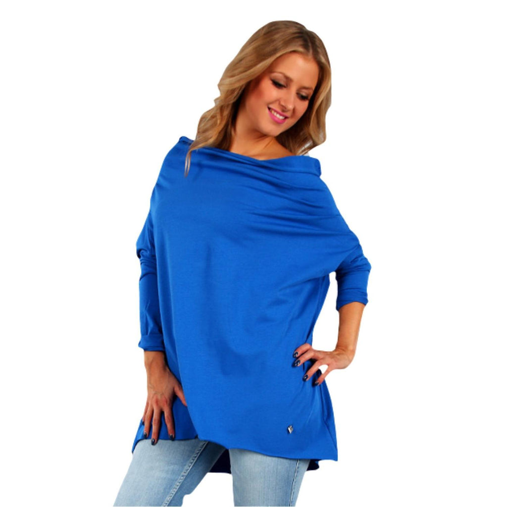 Tunic  Top Asymmetric Casual  Rblue Plus Size [L419_ROYAL-BLUE] - size 16 18 20 22 24 26 28 30 32 34 36 38 40 42 Wolfairy