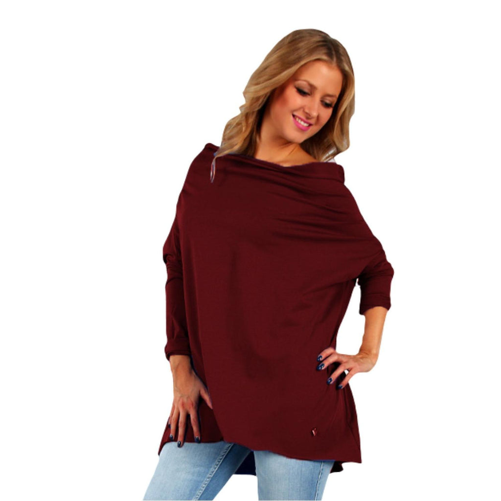 Tunic  Top Asymmetric Casual  Wine Plus Size [L419_WINE] - size 16 18 20 22 24 26 28 30 32 34 36 38 40 42 Wolfairy