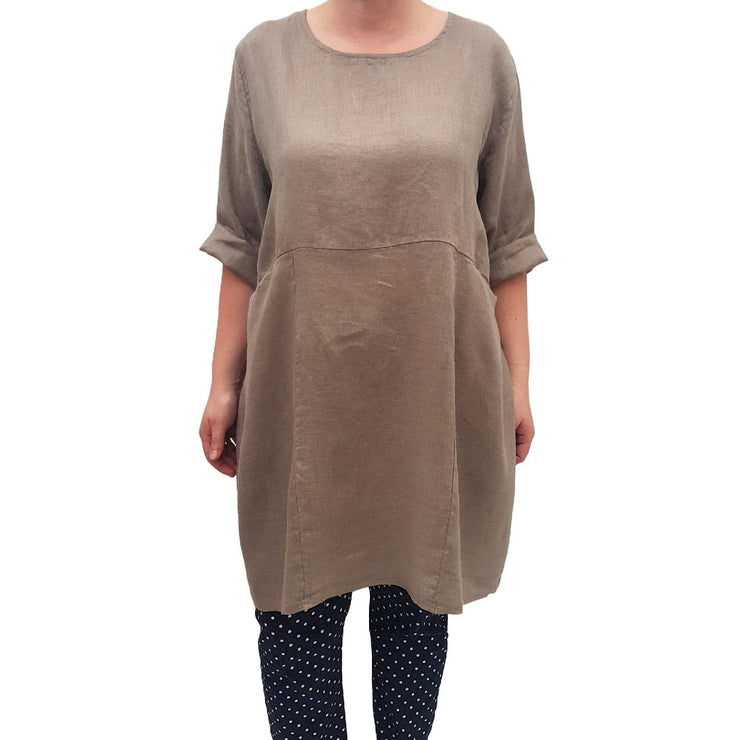 Women Linen Tunic Top Loose Mocca Lagenlook Plus Size [L432_MOCCA] top Wolfairy