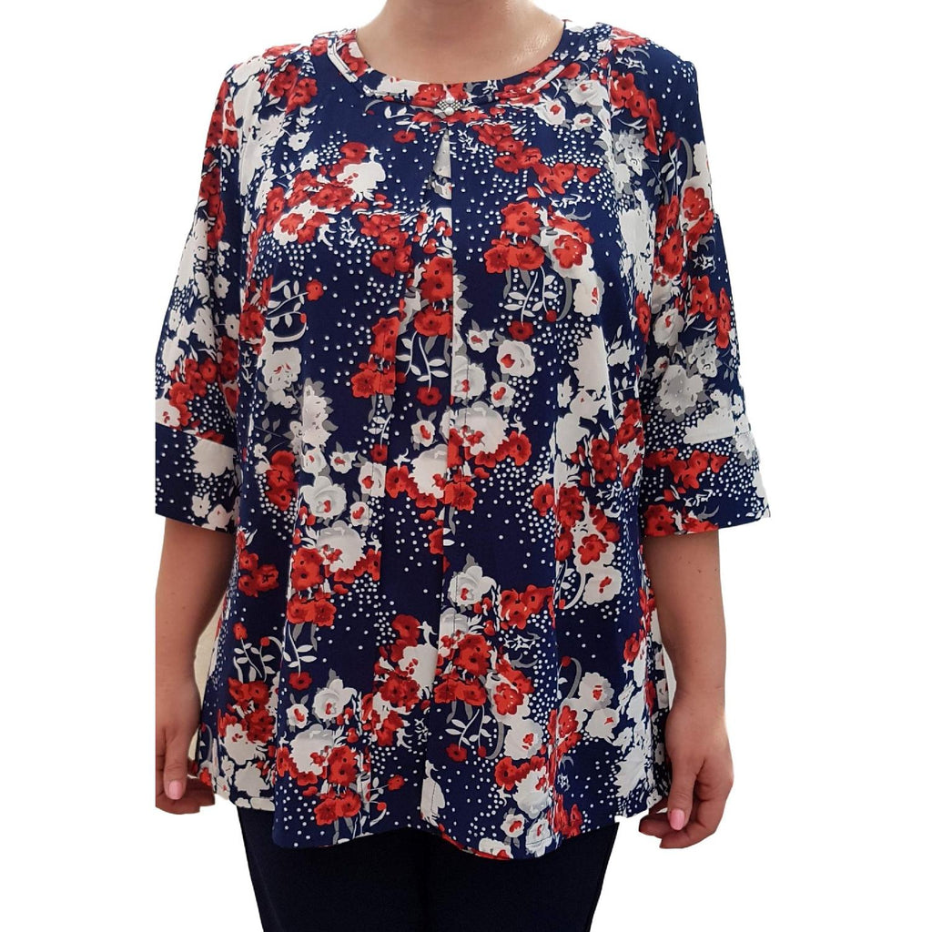 Top Floral Loose Baggy Red Lagenlook Plus Size [L458_RED] - size 16 18 20 22 24 26 28 30 32 34 36 38 40 42 Wolfairy