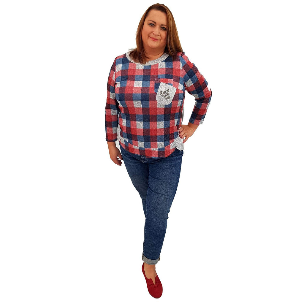 Top Embellished Red Lagenlook Plus Size [L459_RED] - size 16 18 20 22 24 26 28 30 32 34 36 38 40 42 Wolfairy