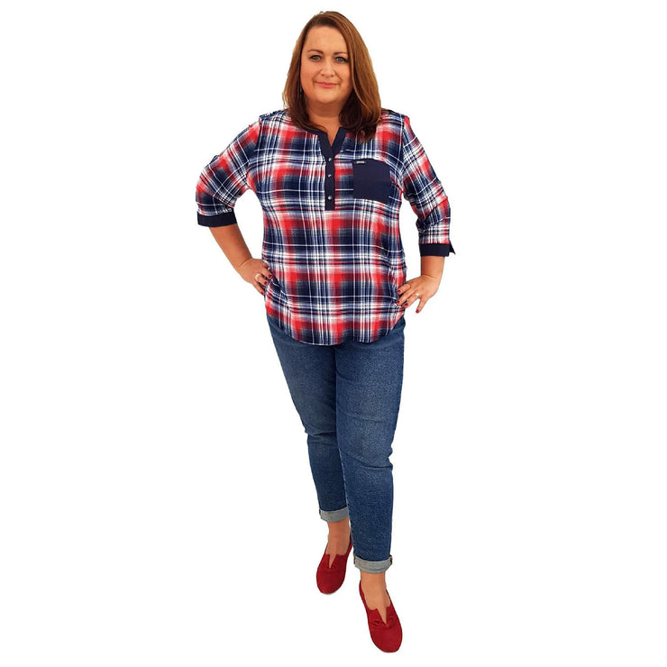 Top Checkered None Lagenlook Plus Size [L461_BLUE] - size 16 18 20 22 24 26 28 30 32 34 36 38 40 42 Wolfairy