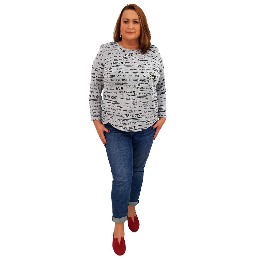 Top Embellished Grey Lagenlook Plus Size [L464_GREY] - size 16 18 20 22 24 26 28 30 32 34 36 38 40 42 Wolfairy