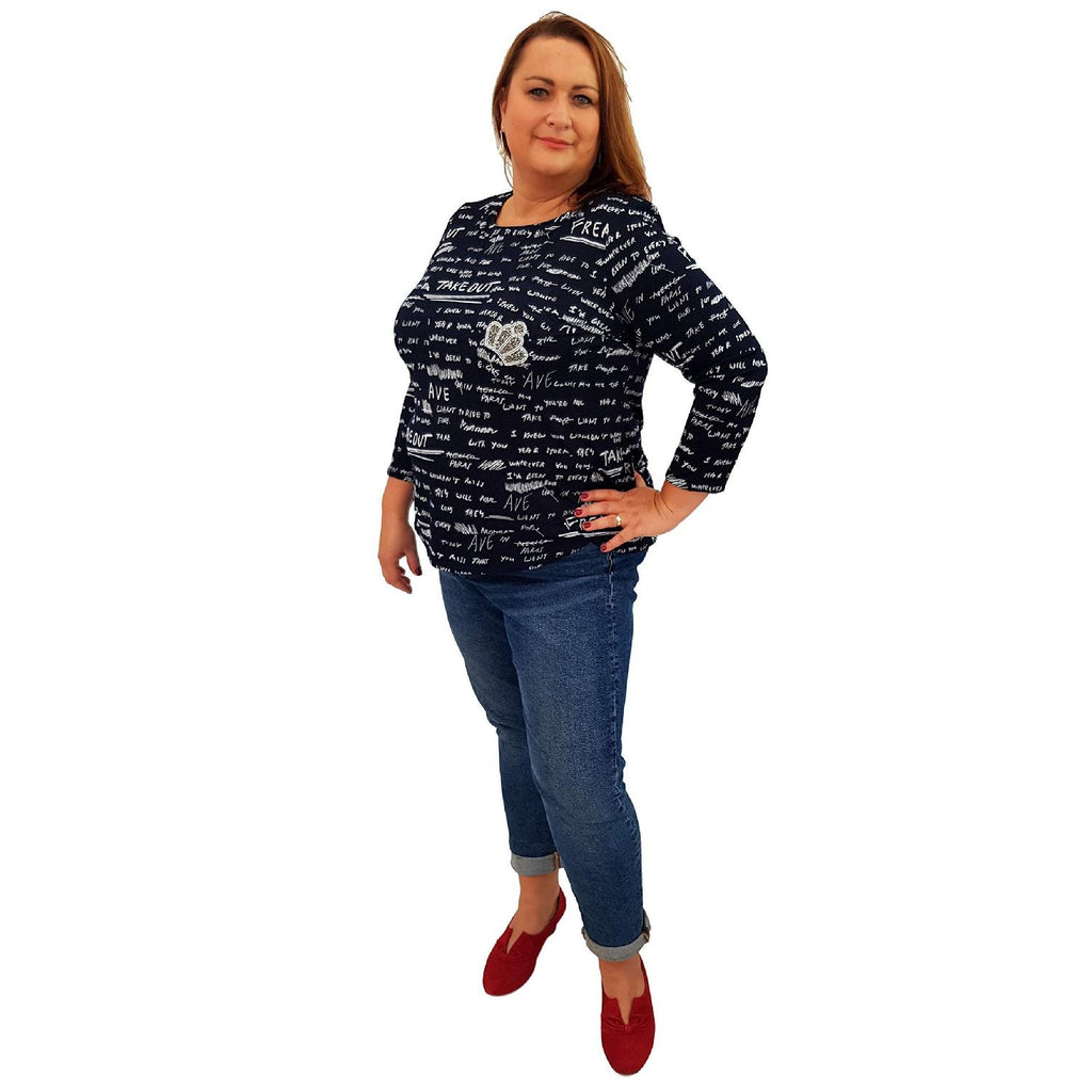 Top Embellished Navy Lagenlook Plus Size [L464_NAVY] - size 16 18 20 22 24 26 28 30 32 34 36 38 40 42 Wolfairy