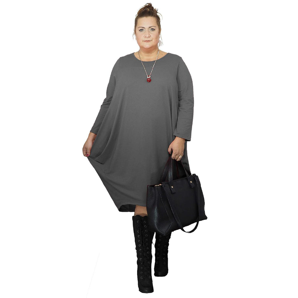 Dress Loose Baggy Long Sleeve Graphite Lagenlook Plus Size [L480_GRAPHITE] - size 16 18 20 22 24 26 28 30 32 34 36 38 40 42 Wolfairy