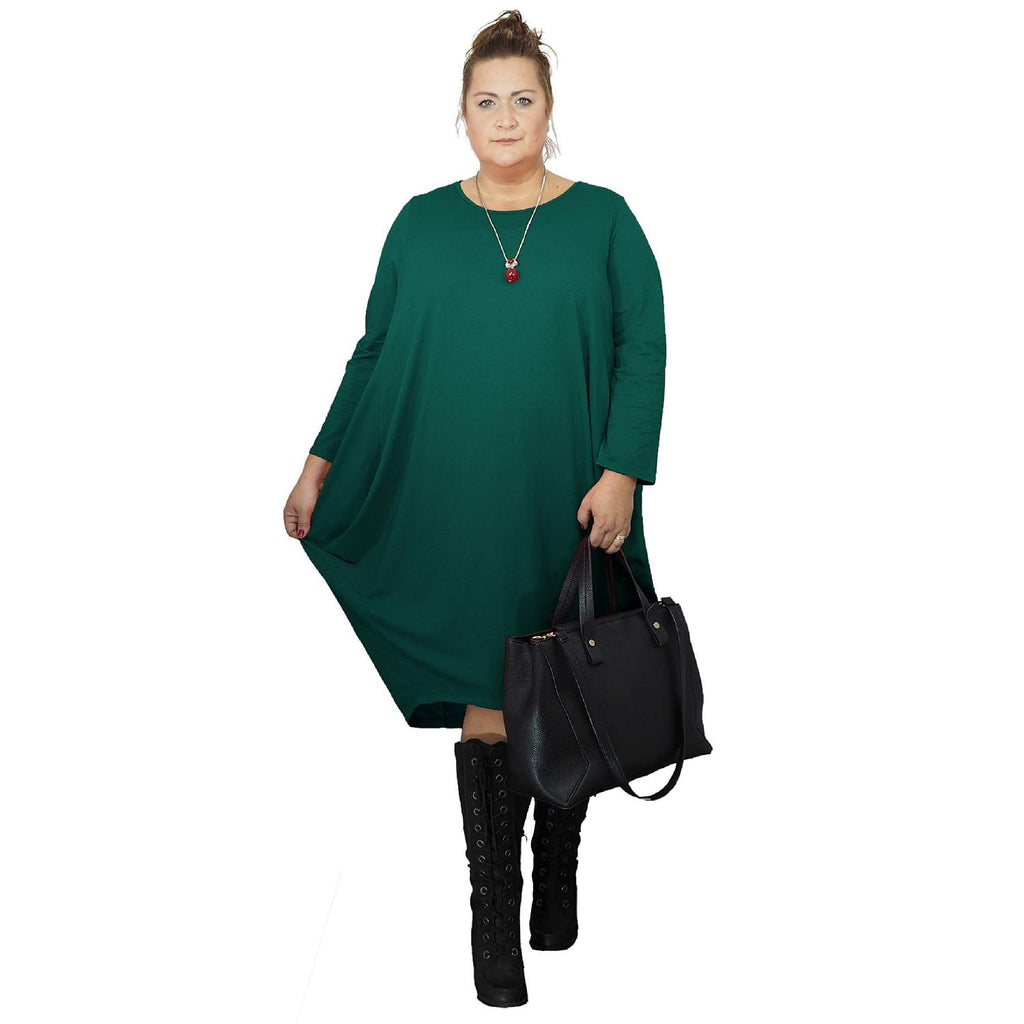 Dress Loose Baggy Long Sleeve Green Lagenlook Plus Size [L480_GREEN] - size 16 18 20 22 24 26 28 30 32 34 36 38 40 42 Wolfairy