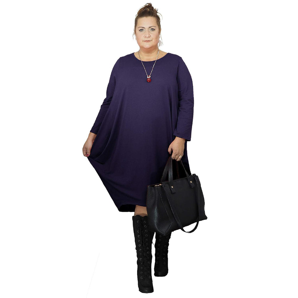 Dress Loose Baggy Long Sleeve Navy Lagenlook Plus Size [L480_NAVY] - size 16 18 20 22 24 26 28 30 32 34 36 38 40 42 Wolfairy