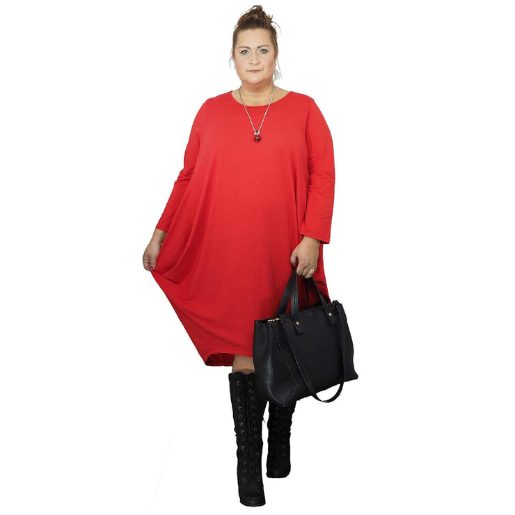 Dress Loose Baggy Long Sleeve Red Lagenlook Plus Size [L480_RED] dress Wolfairy