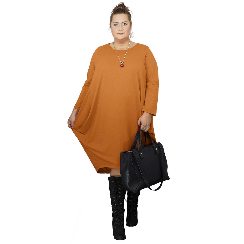 Dress Loose Baggy Long Sleeve Rust Lagenlook Plus Size [L480_RUST] - size 16 18 20 22 24 26 28 30 32 34 36 38 40 42 Wolfairy