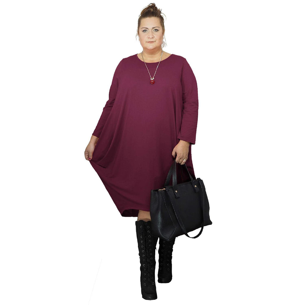 Dress Loose Baggy Long Sleeve Wine Lagenlook Plus Size [L480_WINE] - size 16 18 20 22 24 26 28 30 32 34 36 38 40 42 Wolfairy