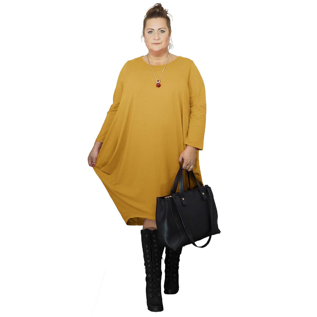 Dress Loose Baggy Long Sleeve Yellow Lagenlook Plus Size [L480_YELLOW] - size 16 18 20 22 24 26 28 30 32 34 36 38 40 42 Wolfairy