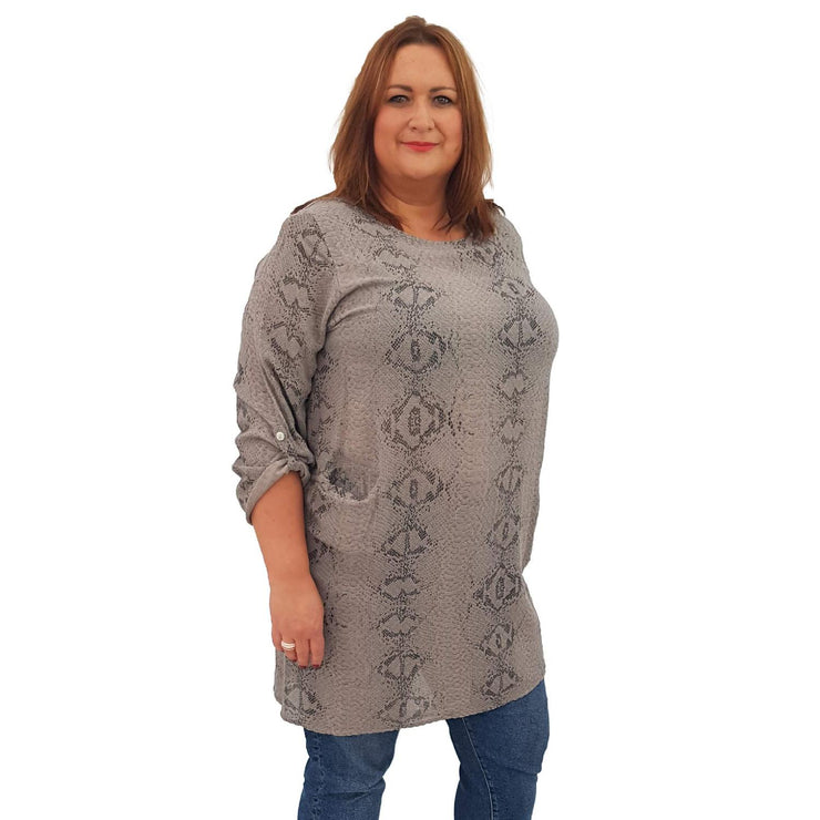 Top Tunic Snake Beige Lagenlook Plus Size [L483_BEIGE] top Wolfairy