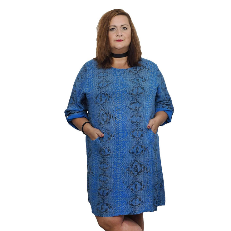 Top Tunic Snake Blue Lagenlook Plus Size [L483_BLUE] - size 16 18 20 22 24 26 28 30 32 34 36 38 40 42 Wolfairy
